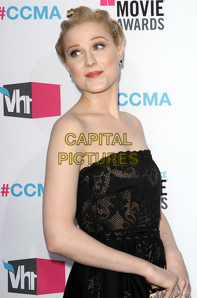 Evan Rachel Wood.17th Annual Critics Choice Movie Awards - Arrivals held at the Hollywood Palladium, Los Angeles, California, USA, 12th January 2012..arrivals half length strapless black lace patterned dress hair up side.CAP/ADM/KB.©Kevan Brooks/AdMedia/Capital Pictures.