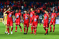 CALI - COLOMBIA, 10- 02-2019: Los jugadores de América de Cali al final del partido, entre América de Cali y Atlético Junior, de la fecha 4 por la Liga Águila I 2019 jugado en el estadio Pascual Guerrero de la ciudad de Cali. / The players of America de Cali at the end of the match between America de Cali and Atletico Junior, of the 4th date for the Liga Águila I 2019 at the Pascual Guerrero stadium in Cali city. Photo: VizzorImage / Nelson Ríos / Cont.
