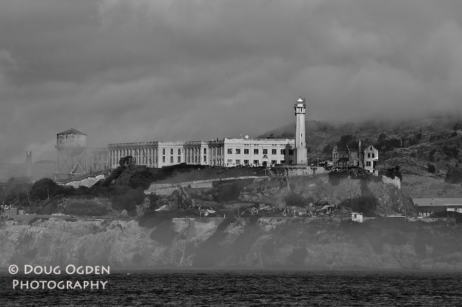 Alcatraz Island, San Francisco Bay, California - Black and White
