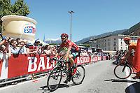 Picture by Pier Maulini/SWpix.com 27/05/2015 Cycling - Giro d'Italia - 27/05/2015 - Stage Seventeen - Tirano - Lugano ( Switzerland )<br /> copyright picture - Simon Wilkinson - simon@swpix.com<br /> Elia Viviani at the strat in Tirano