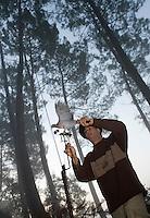 Europe/France/Aquitaine/40/Landes/Escalans:Avec Jean Barrère à  sa Palombière de la Ganaderia de Buros - Installation des appelants ou appeaux  <br /> -La publication de cette image doit etre faite en accord avec le contenu et le contexte de sa légende - The use of this image must be made in agreement with the content and the context of it caption [Non destiné à un usage publicitaire - Not intended for an advertising use]