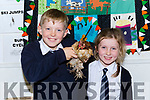 Roisin and Gearoid Evans with their hen Tina at bring your pet to school day in Fybough NS Castlemaine on Friday