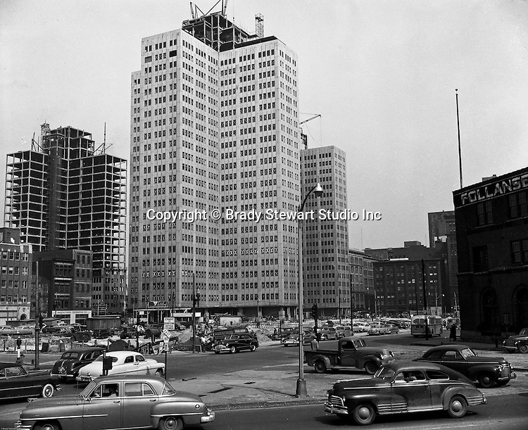 Pittsburgh PA - View of the Gateway Center construction - 1952.  Photograph was taken from the Blvd of the Allies.  Gateway Center, a four-building office campus that is a centerpiece of the Downtown Pittsburgh business district. Serving as the key piece of Pittsburgh's Renaissance 1,  Gateway Center and the original Pittsburgh Hilton shaped the Pittsburgh Point for over 30 years. Gateway Center totals nearly 1.5 million square feet of space on 8.9 acres, along with the complementing landscaped plaza, underground walkways and parking.