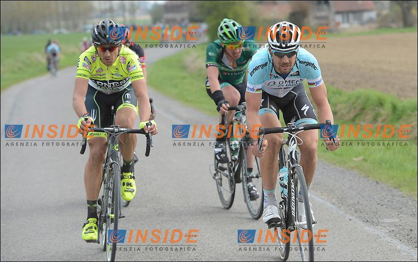Ballan Alessandro et Filipo Pozzato - Team Farnese Selle et  BOONEN Tom (BEL) - Omega Pharma - Quickstep  .Parigi - Roubaix 8/4/2012.Ciclismo corsa in linea.Foto Insidefoto / Vincent Kalut - Nico Vereecken / Photo News / Panoramic .ITALY ONLY