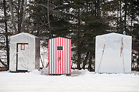 Ice fishing shanties on Little Bay de Noc near Gladstone and Escanaba Michigan.