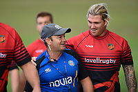 Bath Rugby first team coach Darren Edwards with Richard Hibbard of the Dragons. Bath Rugby pre-season training on August 8, 2018 at Farleigh House in Bath, England. Photo by: Patrick Khachfe / Onside Images