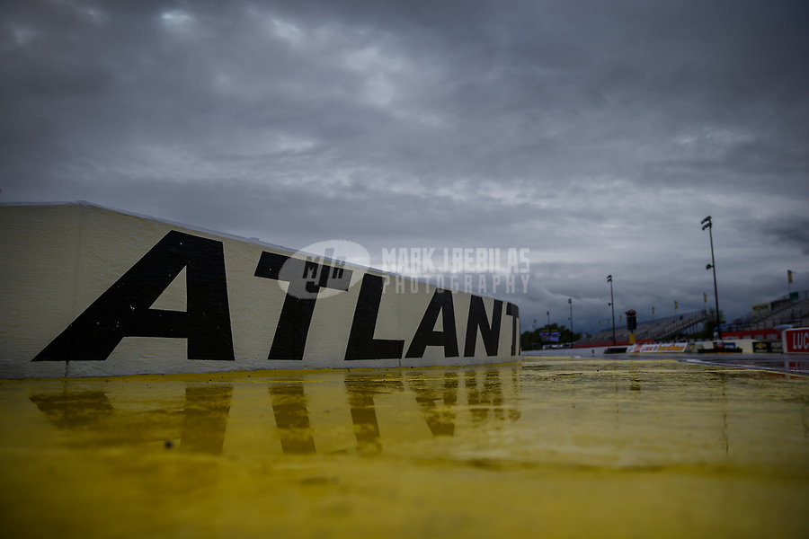 May 5, 2017; Commerce, GA, USA; General view of water on the ground during a rain delay to qualifying for the NHRA Southern Nationals at Atlanta Dragway. Mandatory Credit: Mark J. Rebilas-USA TODAY Sports