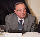 Paul Lepage, Governor of Maine participates in a meeting with state and local officials regarding the Trump infrastructure plan, February 12, 2018 at The White House in Washington, DC. Credit: Chris Kleponis / CNP