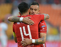 MEDELLIN- COLOMBIA, 24-03-2019 .Germán Cano jugador del Independiente Medellín celebra después de anotar un gol al  Envigado  durante partido por la fecha 11 de La Liga Aguila I 2019 ,jugado en el estadio Atanasio Girardot de la ciudad de Medellín / German Cano player of Independiente Medellin celebrates after scoring the goal agaisnt of Envigado during match for the date 11 as part Aguila League I 2019 between Independiente Medellin  and Envigado played at Atanasio Girardot stadium in Medellin  city.  Photo: VizzorImage / León Monsalve  / Contribuidor