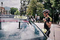 Maglia Rosa / overall leader Simon Yates (GBR/Mitchelton-Scott) checking out the iTT-course of the 16th stage on the restday<br /> <br /> 3rd Giro restday <br /> 101th Giro d'Italia 2018