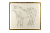 BNPS.co.uk (01202 558833)<br /> Pic: ChiswickAuctions/BNPS<br /> <br /> An abandoned drawing of a horse by Lucian Freud together with painting materials he also left behind have sold at auction for £80,000.<br />  <br /> The celebrated British artist gave up on his study of the horse called Goldie halfway through as he decided he didn't like her personality.<br /> <br /> He left the unfinished work at the Wormwood Scrubs Pony Centre in west London along with his easel, palette and paint brushes. <br /> <br /> The items have now sold at Chiswick Auctions.