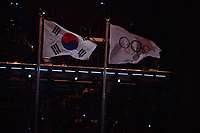OLYMPIC GAMES: PYEONGCHANG: 09-02-2018, PyeongChang Olympic Stadium, Olympic Games, Opening Ceremony, Korean and Olympic flag, ©photo Martin de Jong