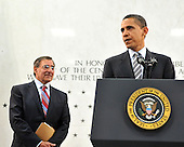 McLean, VA - April 20, 2009 -- United States President Barack Obama makes remarks to Central Intelligence Agency (CIA) employees at the George Bush Center for Intelligence (CIA Headquarters) in McLean, Virginia on Monday, April 20, 2009.  CIA Director Leon Panetta looks on from left..Credit: Ron Sachs / Pool via CNP