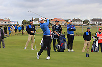Conor Purcell (GB&I) on the 2nd tee during the Foursomes at the Walker Cup, Royal Liverpool Golf CLub, Hoylake, Cheshire, England. 07/09/2019.<br /> Picture Thos Caffrey / Golffile.ie<br /> <br /> All photo usage must carry mandatory copyright credit (© Golffile | Thos Caffrey)