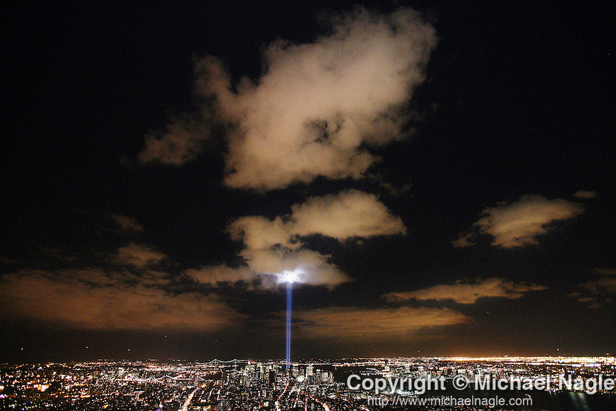 NEW YORK - SEPTEMBER 11, 2006:   The Tribute in Light beam from ground Zero shoots up into the sky to honor the victims of the 9/11 terrorist attacks on the World Trade Center on the fifth anniversary on September 11, 2006 in New York City.  (PHOTOGRAPH BY MICHAEL NAGLE)