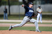 Upper Iowa University Peacocks pitcher Blake Seehusen (35) during a game against Slippery Rock University at Frank Tack Field on March 14, 2014 in Clearwater, Florida.  Slippery Rock defeated Upper Iowa 14-9.  (Mike Janes/Four Seam Images)