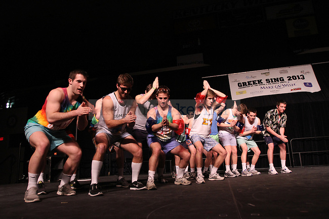 Fraternity men in Sigma Chi compete at the University of Kentucky's Greek Sing, an annual philanthropy event that involves a choreographed dance, at Memorial Coliseum in Lexington, Ky., on Feb. 9, 2013. Greek Sing is hosted by the sorority Chi Omega and the fraternity Phi Delta Theta and benefits the Make-A-Wish Foundation. Photo by Becca Clemons | STAFF