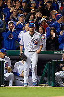 Chicago Cubs pitcher Jon Lester (34) takes the field in the first inning during Game 5 of the Major League Baseball World Series against the Cleveland Indians on October 30, 2016 at Wrigley Field in Chicago, Illinois.  (Mike Janes/Four Seam Images)