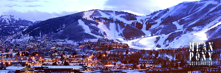 Park City, Utah panorama at dusk. PCMR, center-right &amp; Deer Valley, left runs in the distance. <br /> <br /> Contact us for print availability &amp; price.