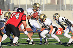 Palos Verdes, CA 11/10/10 - Matt Imwalle (Peninsula #17) and Brandon Mesker (Peninsula #76) in action during the junior varsity football game between Peninsula and Palos Verdes at Palos Verdes High School.
