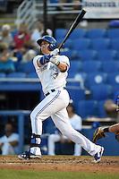 Dunedin Blue Jays third baseman Mitch Nay (28) at bat during a game against the Bradenton Marauders on April 14, 2015 at Florida Auto Exchange Stadium in Dunedin, Florida.  Bradenton defeated Dunedin 7-1.  (Mike Janes/Four Seam Images)
