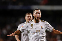 2nd November 2019; Estadio Santiago Bernabeu, Madrid, Spain; La Liga Football, Real Madrid versus Real Betis; Eden Hazard (Real Madrid) smiles as he scored by disallowed for offside - Editorial Use