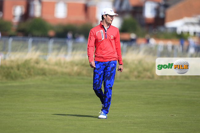 Cole Hammer (USA) on the 1st fairway during Day 2 Singles at the Walker Cup, Royal Liverpool Golf CLub, Hoylake, Cheshire, England. 08/09/2019.<br /> Picture Thos Caffrey / Golffile.ie<br /> <br /> All photo usage must carry mandatory copyright credit (© Golffile   Thos Caffrey)