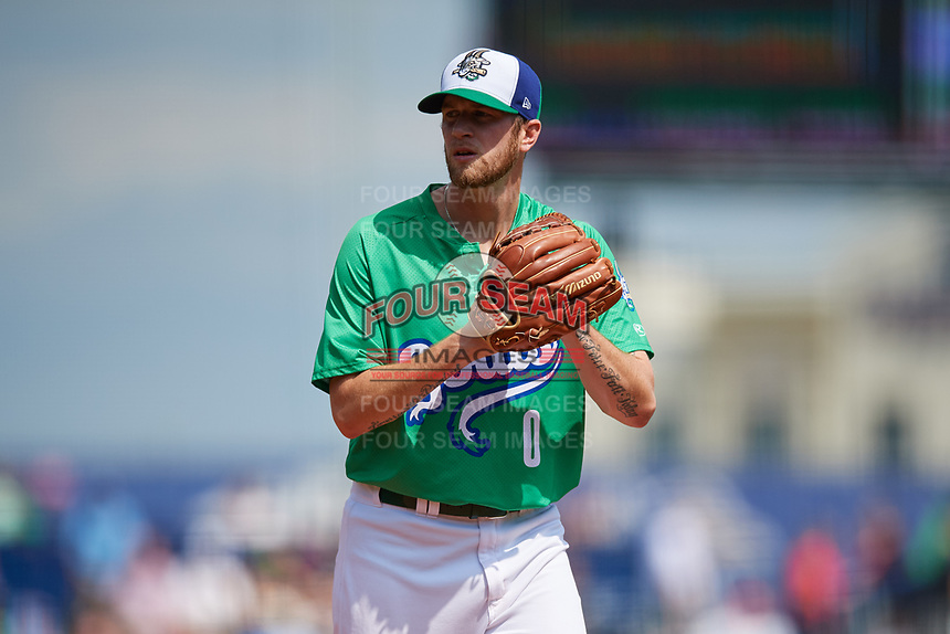 Hartford Yard Goats starting pitcher Evan Grills (0) gets ready to deliver a pitch during a game against the Trenton Thunder on August 26, 2018 at Dunkin' Donuts Park in Hartford, Connecticut.  Trenton defeated Hartford 8-3.  (Mike Janes/Four Seam Images)
