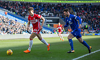 Rudy Gestede of Middlesbrough protects the ball from Sean Morrison of Cardiff City during the Sky Bet Championship match between Cardiff City and Middlesbrough at the Cardiff City Stadium, Cardiff, Wales on 17 February 2018. Photo by Mark Hawkins / PRiME Media Images.