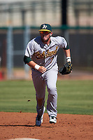Oakland Athletics Mikey White (7) during an instructional league game against the Los Angeles Angels on October 9, 2015 at the Tempe Diablo Stadium Complex in Tempe, Arizona.  (Mike Janes/Four Seam Images)