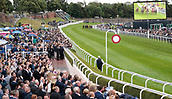 June 10th 2017, Chester Racecourse, Cheshire, England; Chester Races Horse racing; the runners enter the straight for the final race of the afternoon