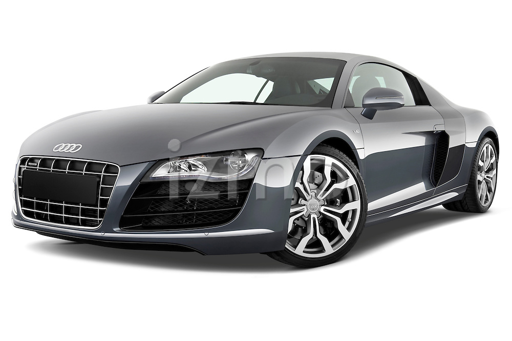 Low aggressive front three quarter view of a 2009 - 2012 Audi R8 V10 FSI Coupe.