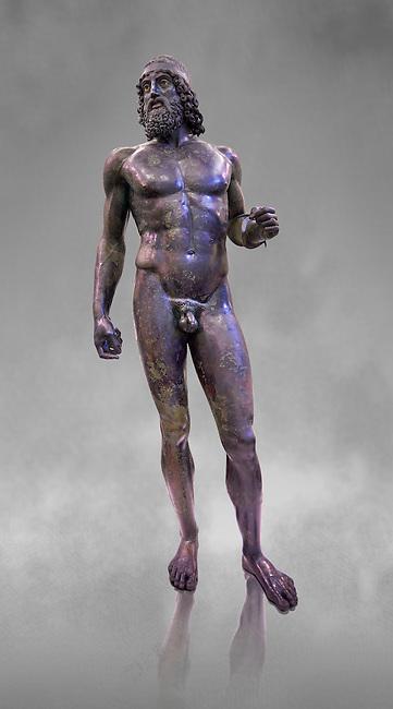 The Riace bronze Greek statue A cast about 460 BC. Museo Nazionale della Magna Grecia,  Reggio Calabria, Italy.