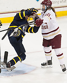 Dominique Kremer (Merrimack - 9), Bridget McCarthy (BC - 21) - The number one seeded Boston College Eagles defeated the eight seeded Merrimack College Warriors 1-0 to sweep their Hockey East quarterfinal series on Friday, February 24, 2017, at Kelley Rink in Conte Forum in Chestnut Hill, Massachusetts.The number one seeded Boston College Eagles defeated the eight seeded Merrimack College Warriors 1-0 to sweep their Hockey East quarterfinal series on Friday, February 24, 2017, at Kelley Rink in Conte Forum in Chestnut Hill, Massachusetts.