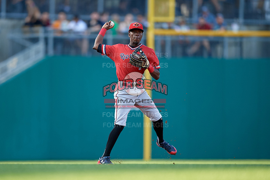 Rochester Red Wings shortstop Nick Gordon (1) throws to first base during a game against the Indianapolis Indians on July 24, 2018 at Victory Field in Indianapolis, Indiana.  Rochester defeated Indianapolis 2-0.  (Mike Janes/Four Seam Images)