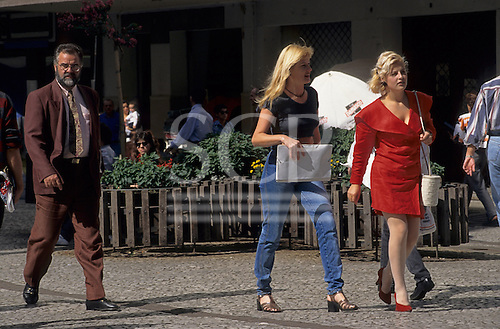 Curitiba, Brazil. People walking on the Rua das Flores in the pedestrianised zone in the city centre.