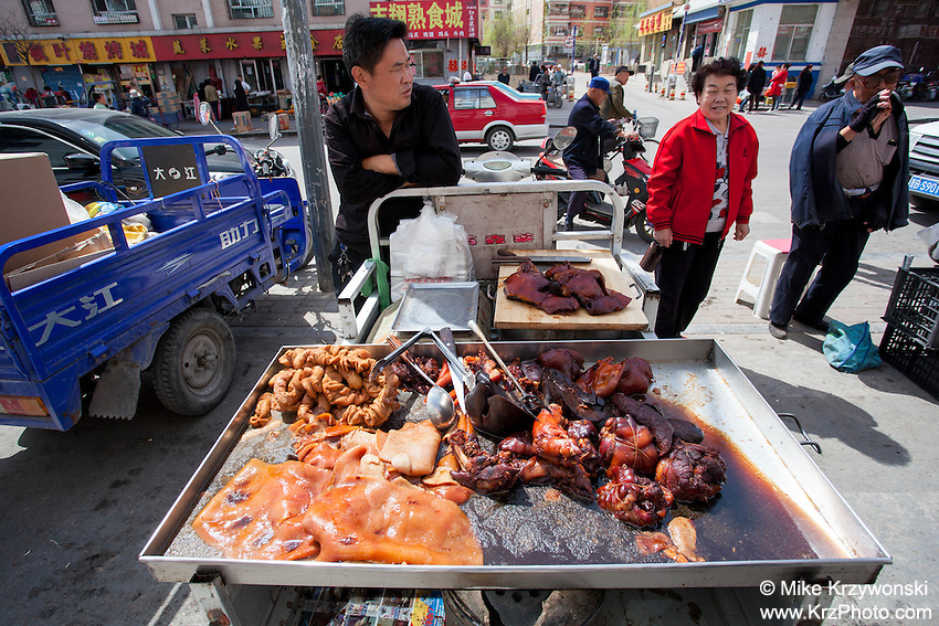 Street vendor selling meat in Datong, China