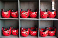 Memphis Redbirds helmet rack on April 24, 2014 at the Dell Diamond in Round Rock, Texas. The Express defeated the Redbirds 6-2. (Andrew Woolley/Four Seam Images)