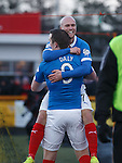 Nicky Law celebrates with Jon Daly after scoring the opening goal
