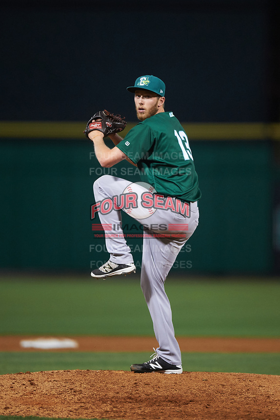 Daytona Tortugas relief pitcher Evan Mitchell (13) during a game against the Clearwater Threshers on April 19, 2016 at Bright House Field in Clearwater, Florida.  Clearwater defeated Daytona 4-1.  (Mike Janes/Four Seam Images)