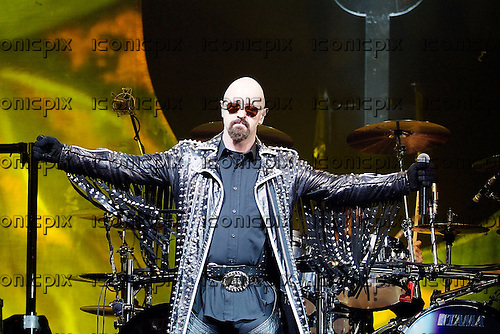 JUDAS PRIEST - vocalist Rob Halford - performingl live on the Retribution Tour at the Apollo Hammersmith in London UK - 16 Mar 2005.  Photo credit: George Chin/IconicPix