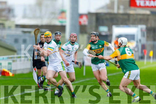 Offaly's David O'Toole Greene about to shoot as Kerrys Mickey Boyle and Michael Leane close him down,  in Div 2 of the National Hurling League in Austin Stack Park on Sunday.