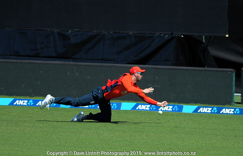 England's James Vince drops Tim Seifert on the boundary. Twenty20 International cricket match between NZ Black Caps and England at Westpac Stadium in Wellington, New Zealand on Sunday, 3 November 2019. Photo: Dave Lintott / lintottphoto.co.nz
