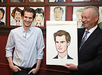 Andrew Garfield and Max Klimavicius attends the Sardi's portrait unveiling for Andrew Garfield at Sardi's on May 31, 2018 in New York City.