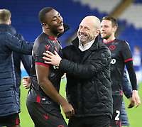 4th February 2020; Cardiff City Stadium, Cardiff, Glamorgan, Wales; English FA Cup Football, Cardiff City versus Reading; Mark Bowen, Manager of Reading celebrates with Yakou Meite of Reading after the 3-4 win after penalties