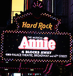 Marquee for the Broadway Opening Night Performance After Party for 'Annie' at the Hard Rock Cafe in New York City on 11/08/2012