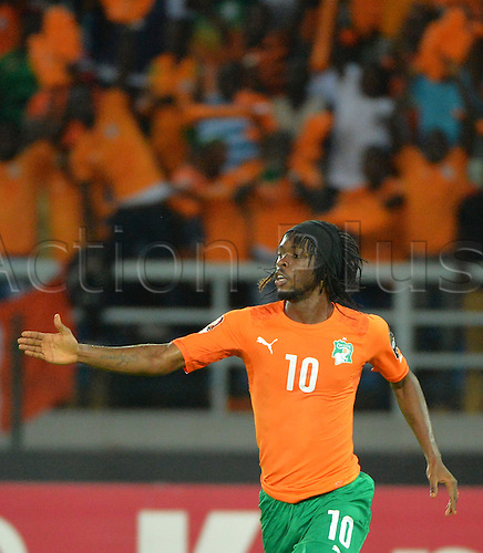 04.02.2015. Equitorial Guinea, African Cup of Nations football tournament semi-fnal match. RD Congo versus Ivory Coast.   Gervinho (Ivory Coast ) celebrates his goal Ivory Coast won the semi-final tie by a score of 3-1 to go through to the final.