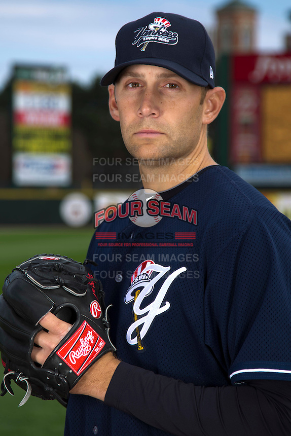 Scranton Wilkes-Barre Yankees pitcher Jason Bulger poses for a photo during media day at Frontier Field on April 3, 2012 in Rochester, New York.  (Mike Janes/Four Seam Images)