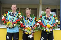 KAATSEN: LEEUWARDEN: 20-07-2014, Rengersdag, Menno van Zwieten (Koning), Marten Feenstra en Pier Piersma zijn in Leeuwarden winnaar geworden van de Rengersdag.©foto Martin de Jong