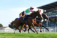 Winner of The AJN Steelstock Dale Goreham's Retirement Handicap  Single ridden by George Bass (pink cap) and trained by Mick Channon  during Horse Racing at Salisbury Racecourse on 9th August 2020